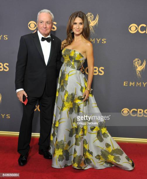 Lorne Michaels and Hilaria Baldwin arrive at the 69th Annual Primetime Emmy Awards at Microsoft Theater on September 17 2017 in Los Angeles California