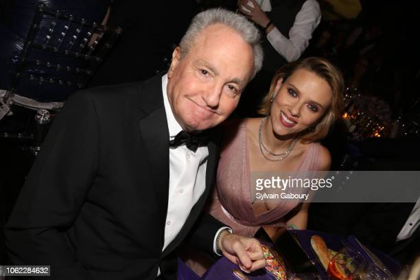 Lorne Michaels and Scarlett Johansson attend American Museum Of Natural History's 2018 Museum Gala at American Museum of Natural History on November...