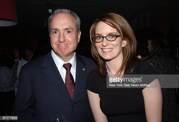 Lorne Michaels creator and executive producer of 'Saturday Night Live' and SNL's head writer Tina Fey get together during a party at the AOL Time...