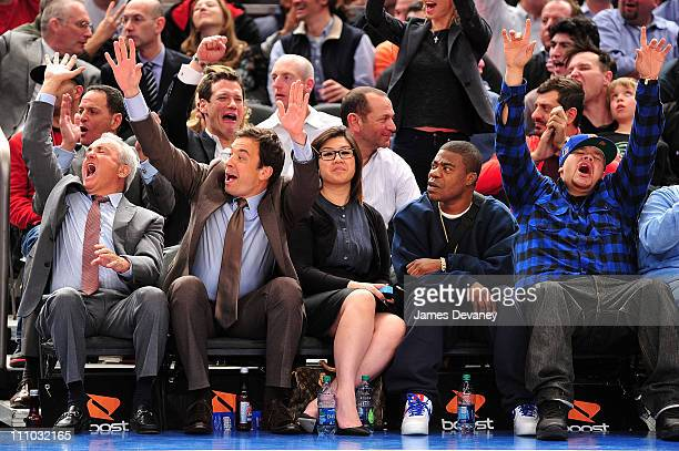 Lorne Michaels Jimmy Fallon guest Tracy Morgan and Fat Joe attend the Orlando Magic vs New York Knicks game at Madison Square Garden on March 28 2011...