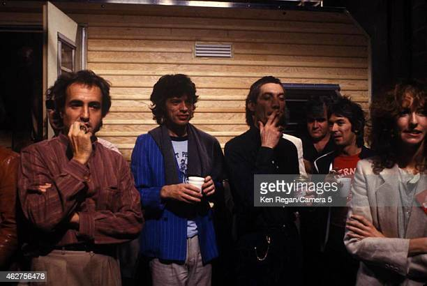 Lorne Michaels Mick Jagger Charlie Watts and Laraine Newman are photographed on the set of Saturday Night Live in October 1978 in New York City...