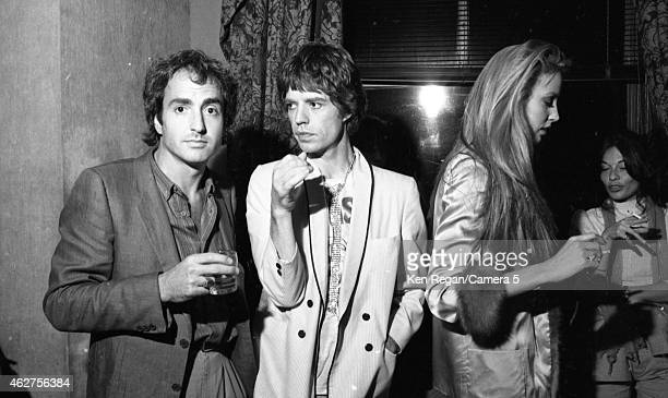 Lorne Michaels Mick Jagger of the Rolling Stones and Jerry Hall are photographed in October 1978 in New York City CREDIT MUST READ Ken Regan/Camera 5...