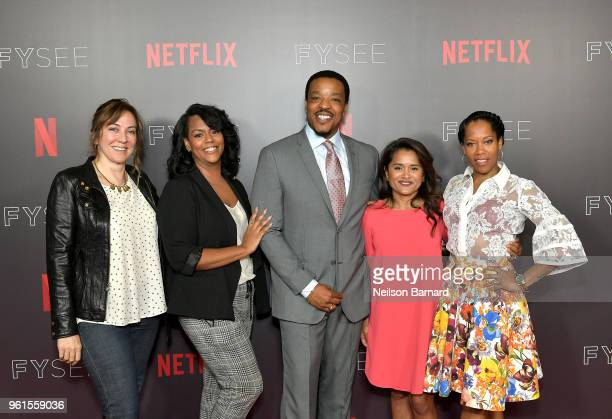 Lorraine Ali Kristi Henderson Russell hornsby Veena Sud and Regina King attend the 'Seven Seconds' panel at Netflix FYSEE on May 22 2018 in Los...