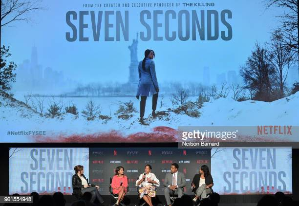 Lorraine Ali Veena Sud Regina King Russell Hornsby and Kristi Henderson speak onstage at the 'Seven Seconds' panel at Netflix FYSEE on May 22 2018 in...