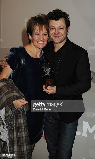 Lorraine Ashbourne and Andy Serkis with his Best Actor Award attend the London Evening Standard British Film Awards 2010 at The London Film Museum on...