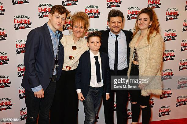Lorraine Ashbourne Andy Serkis and children Louis Sonny and Ruby attend the Jameson Empire Awards 2016 at The Grosvenor House Hotel on March 20 2016...