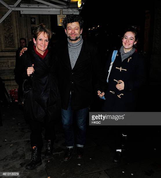 Lorraine Ashbourne Andy Serkis and daughter Ruby Serkis attend the 'Cirque Du Soleil Quidam' opening night at the Royal Albert Hall on January 7 2014...