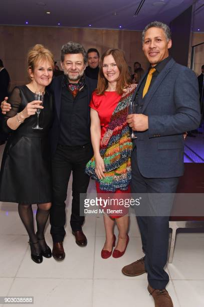 Lorraine Ashbourne Andy Serkis Jessica Hynes and Adam Hynes attend the opening night drinks reception for 'Song Of The Earth / La Sylphide' at The...