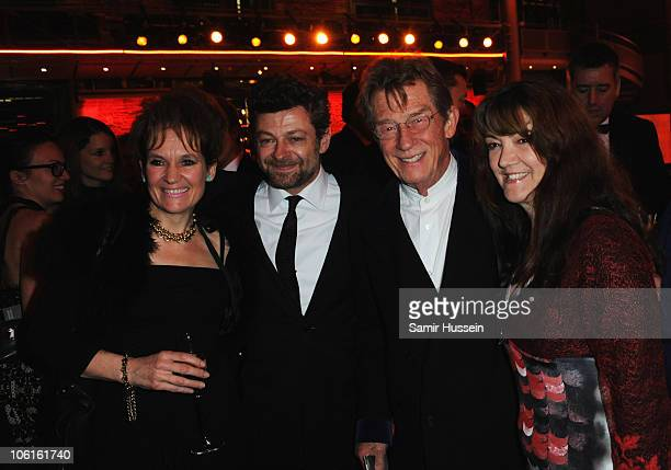 Lorraine Ashbourne Andy Serkis John Hurt and Ann ReesMyers attend the reception for the 54th BFI London Film Festival Awards at LSO St Lukes on...