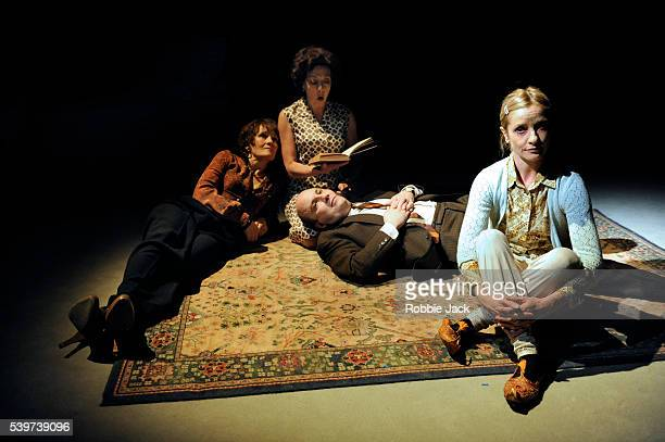 Lorraine Ashbourne as Aunt Dan Mary Roscoe as Mother Paul Chahidi as Father and Jane Horrocks as Lemon in the production of Wallace Shawn's play Aunt...