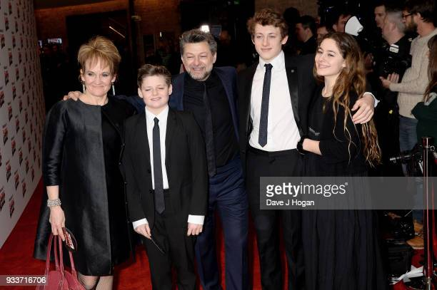Lorraine Ashbourne Louis Serkis Andy Serkis Sonny Serkis and Ruby Serkis attend the Rakuten TV EMPIRE Awards 2018 at The Roundhouse on March 18 2018...