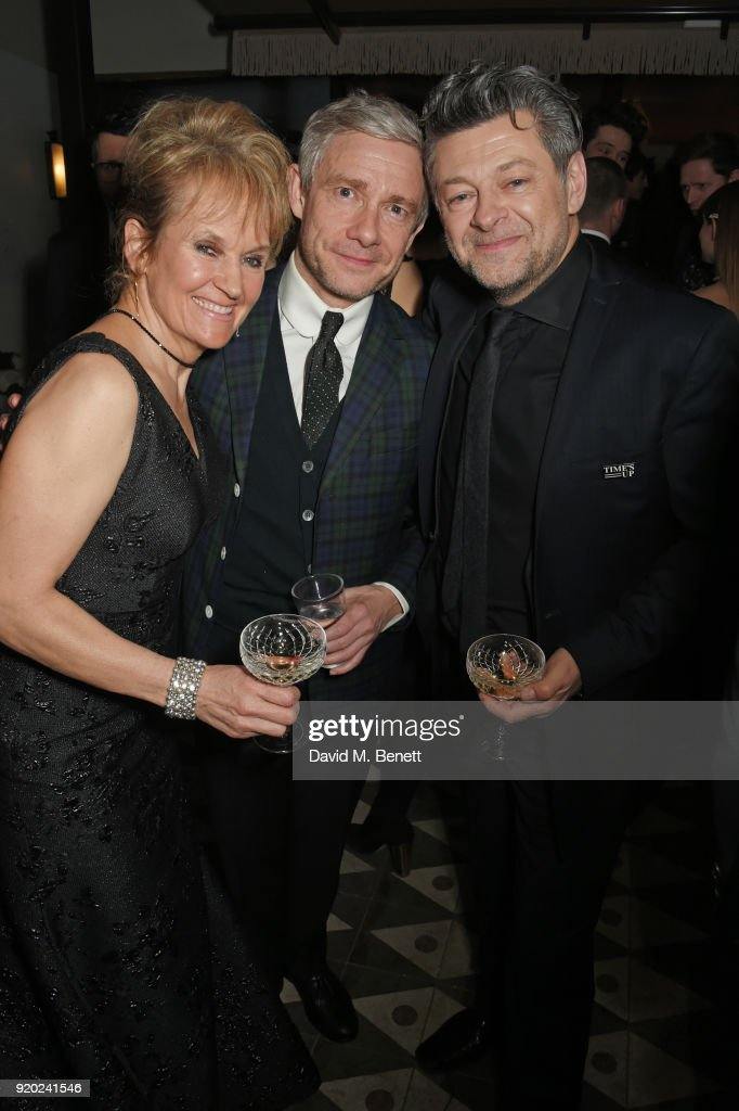 Lorraine Ashbourne, Martin Freeman and Andy Serkis attend the Grey Goose 2018 BAFTA Awards after party on February 18, 2018 in London, England.