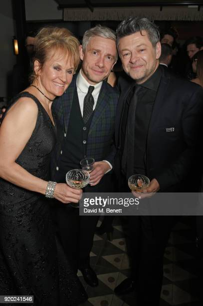 Lorraine Ashbourne Martin Freeman and Andy Serkis attend the Grey Goose 2018 BAFTA Awards after party on February 18 2018 in London England