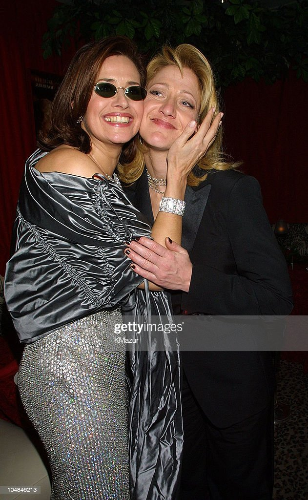 Lorraine Bracco and Edie Falco during The 58th Annual Golden Globe Awards - HBO After Party at Beverly Hilton in Los Angeles, California, United States.