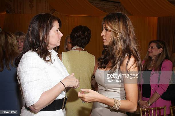 Lorraine Bracco and Melania Trump talk at the Hope for Depression Research Foundation Luncheon at Mar A Lago on March 28, 2008 in Palm Beach, Florida.