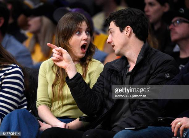 Lorraine Broussard Nicholson daughter of actor Jack Nicholson and a friend attend the Los Angeles Lakers and Boston Celtics basketball game at at...