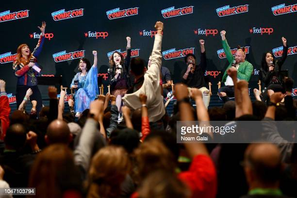 Lorraine Cink Kathreen Khavari Milana Vayntrub Tyler Posey Kamil McFadden Cort Lane and Sana Amanat speak onstage during the Marvel Animation...