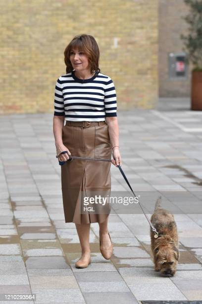 Lorraine Kelly seen walking her dog Angus on March 04 2020 in London England