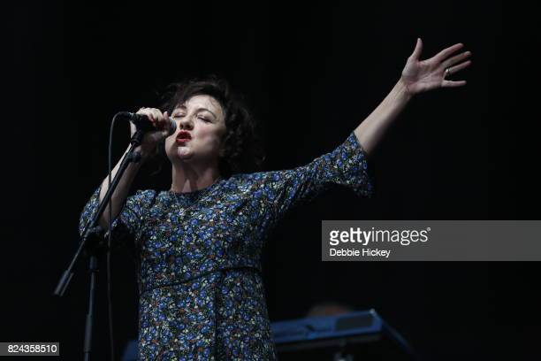 Lorraine McIntosh of Scottish pop rock band Deacon Blue performs on stage during Punchestown Music Festival at Punchestown Racecourse on July 29 2017...