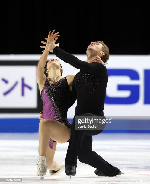 Lorraine McNamara and Anton Spiridonov of the USA compete in the Ice Dance Free Skating program during the ISU Grand Prix of Figure Skating at the...