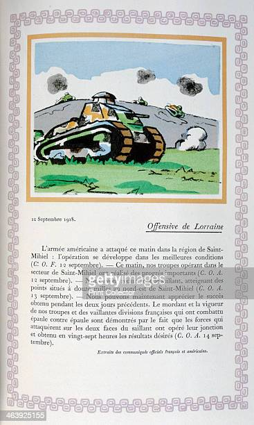 Lorraine offensive 12th September 1918 A book of the principal events of the war period A print from Le livre des heures héroïques et douloureuses by...