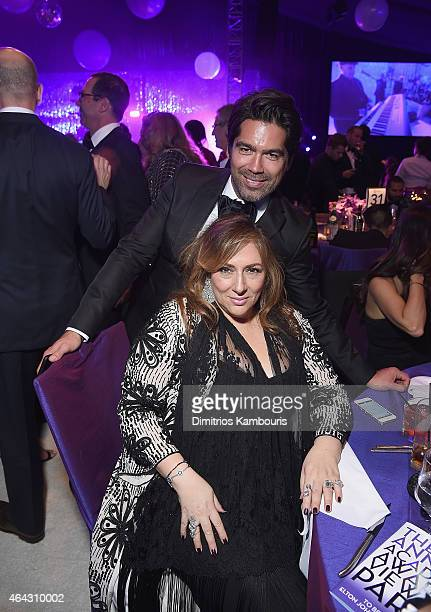 Lorraine Schwartz and Brian Atwood attend the 23rd Annual Elton John AIDS Foundation Academy Awards Viewing Party on February 22 2015 in Los Angeles...