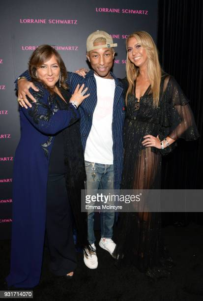 Lorraine Schwartz, Pharrell Williams, and Ofira Sandberg attend Lorraine Schwartz launches The Eye Bangle a new addition to her signature Against...