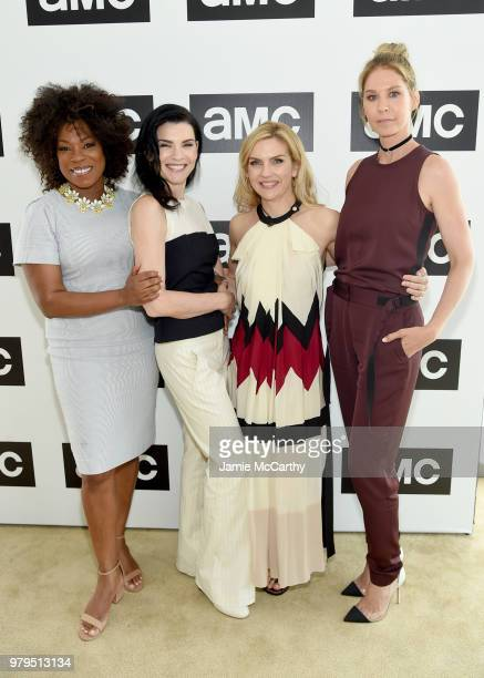 Lorraine Touissant Julianna Margulies Rhea Seehorn and Jenna Elfman attend the AMC Summit at Public Hotel on June 20 2018 in New York City
