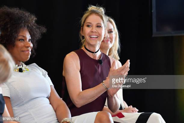 Lorraine Toussaint Jenna Elfman and Rhea Seehorn speak onstage during the 'KickAss Women of AMC' Panel at the AMC Summit at Public Hotel on June 20...