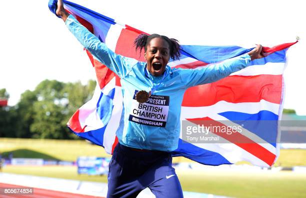 Lorraine Ugen celebrates winning the Womens Long Jump Final during the British Athletics World Championships Team Trials at Birmingham Alexander...