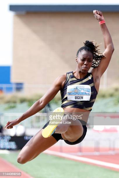 Lorraine Ugen competes in the women's long jump on the second day of the 61st Mt SAC Relays at Murdock Stadium at El Camino College on April 20 2019...