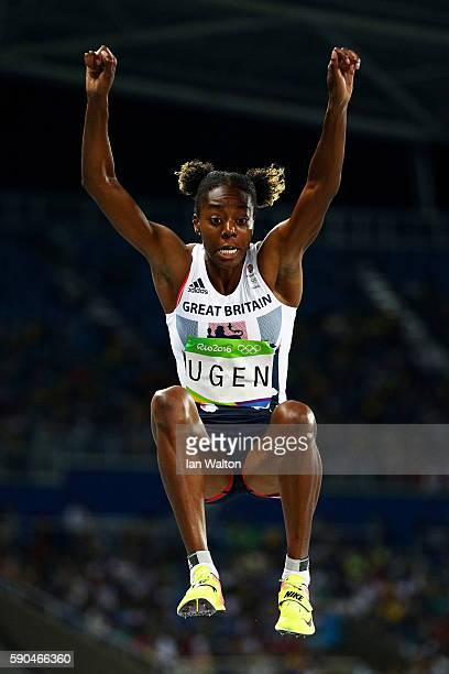 Lorraine Ugen of Great Britain competes during the Women's Long Jump Qualifying Round on Day 11 of the Rio 2016 Olympic Games at the Olympic Stadium...