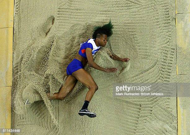 Lorraine Ugen of Great Britain competes in the Woman's Long Jump during the Glasgow Indoor Grand Prix at the Emirates Arena on February 20 2016 in...