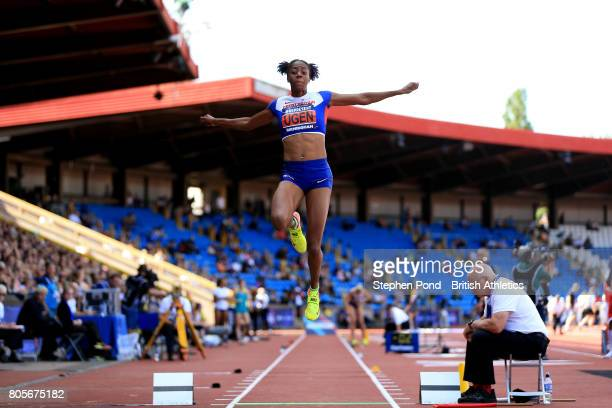Lorraine Ugen of Great Britain competes in the Women's Long Jump Final during day two of the British Athletics World Championships Team Trials at...