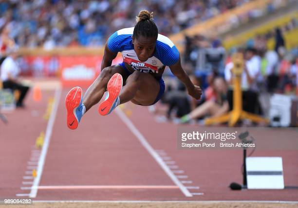 Lorraine Ugen of Great Britain competes in the Women's Long Jump Final during Day Two of the Muller British Athletics Championships at the Alexander...