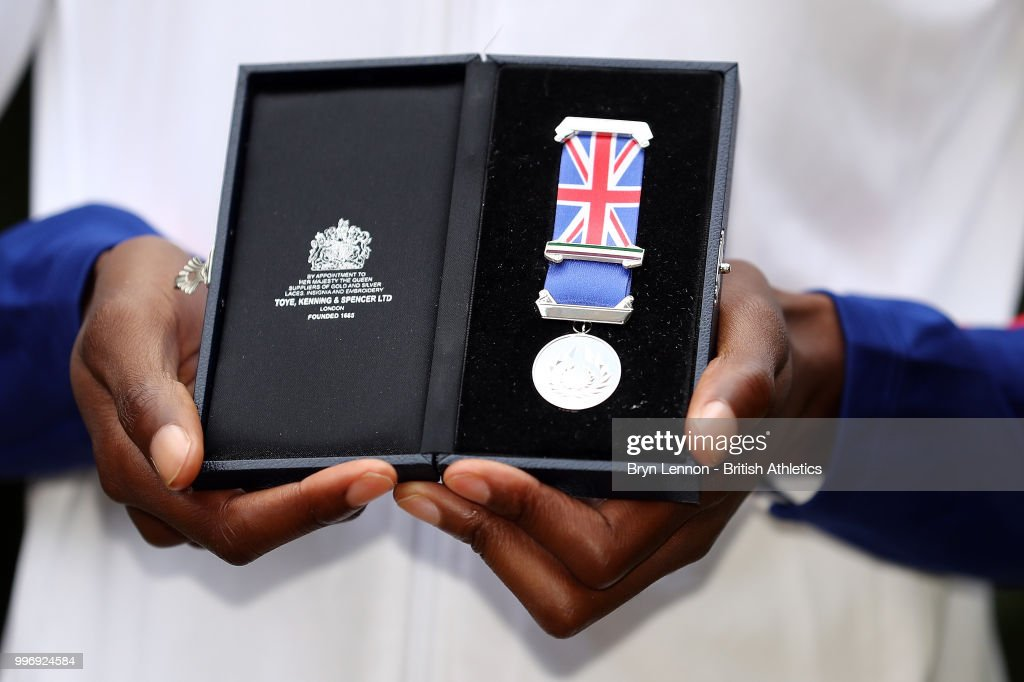 Lorraine Ugen of Great Britain poses with her medal at the Athletics World Cup Captains Medal Presentation on July 12, 2018 in London, England. The Athletics World takes place in the London Stadium on the 14th and 15th July.