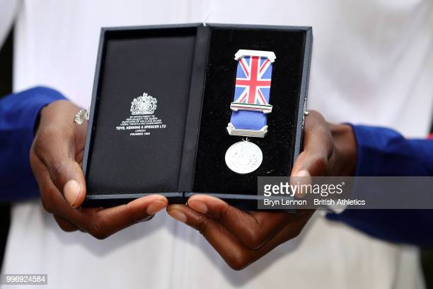 Lorraine Ugen of Great Britain poses with her medal at the Athletics World Cup Captains Medal Presentation on July 12 2018 in London England The...
