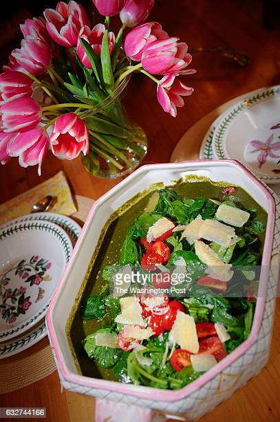 WASHINGTON DC FEBRUARY Lorraine Wallace cook's two soups from her new cookbook Mr Sunday's Soups in her Washington DC home The Italian Spinach Salad...