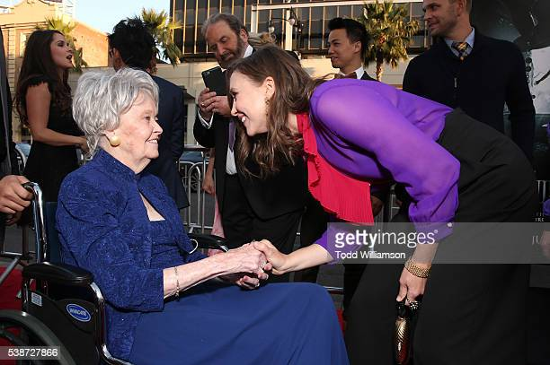 Lorraine Warren and Vera Farmiga attend the Los Angeles Film Festival The Conjuring 2 Premiere at TCL Chinese Theatre IMAX on June 7 2016 in...