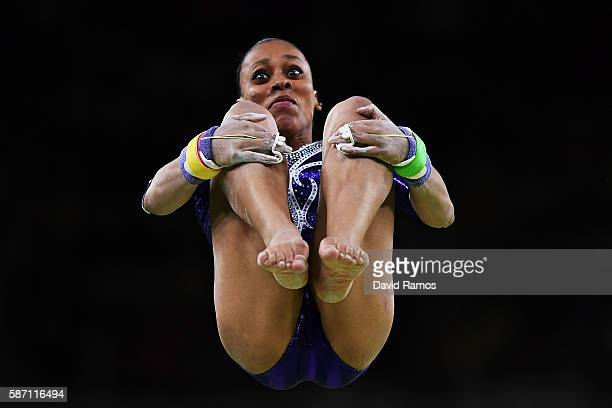 Lorrane Oliveira of Brazil competes on the uneven bars during Women's qualification for Artistic Gymnastics on Day 2 of the Rio 2016 Olympic Games at...