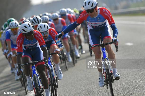 Lorrenzo Manzin of France & Edvald Boasson Hagen of Norway and Team Total Direct Energie during the 45th Oxyclean Brugge - De Panne 2021, Men Classic...