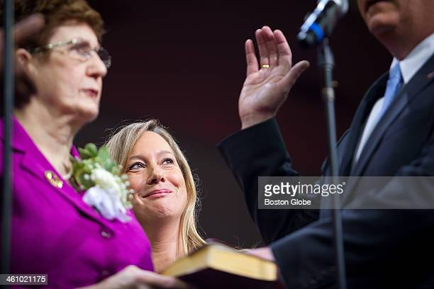Lorrie Higgins longtime girlfriend of Marty Walsh watches as Walsh was sworn in as mayor of Boston during an inauguration ceremony at the Conte Forum...