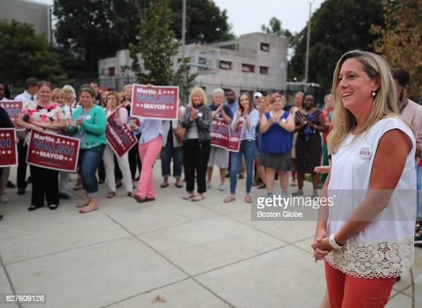 Lorrie Higgins longtime partner of Boston Mayor Marty Walsh is introduced during a Walsh Campaign Women for Walsh rally at Doherty Playground in...