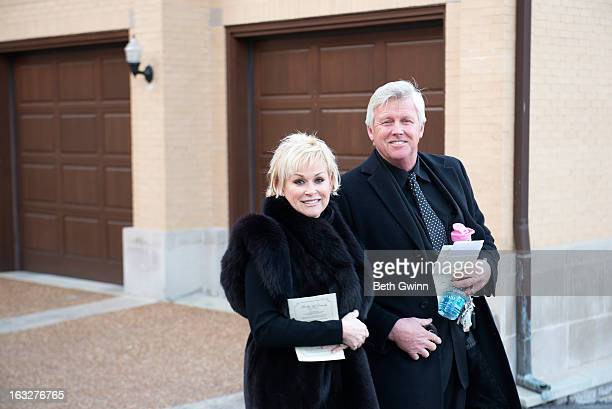 Lorrie Morgan and Randy White attend the memorial service for Mindy McCready at Cathedral of the Incarnation on March 6 2013 in Nashville Tennessee...