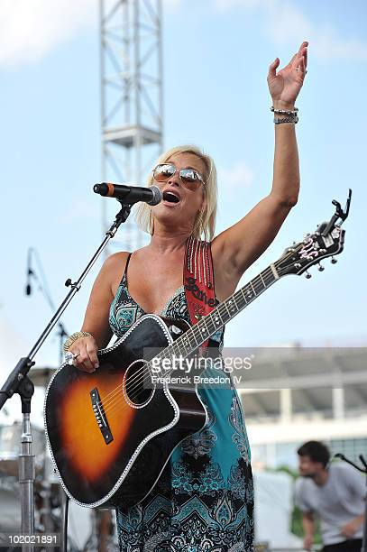 Lorrie Morgan performs on the Riverfront Park Stage during the 2010 CMA Music Festival on June 12 2010 in Nashville Tennessee