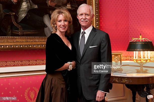 Lorrie Sullenberger and Chesley Sullenberger pose for a photo before Chesley is awarded the Officier Award at the French Ambassador's Residence on...
