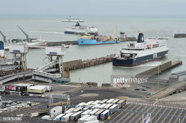 Lorries and passengers are seen aboard a ferry as it leaves the Port of Dover southern England on January 7 2019 The Government ran a trial using a...