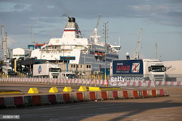 Lorries and trucks arrive at the UK border as they leave a cross-channel ferry that has just arrived from France on August 13, 2014 in Portsmouth,...