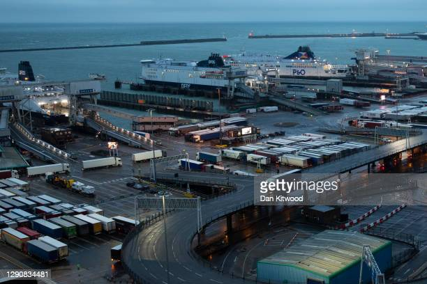 Lorries arrive at Dover Port on December 11, 2020 in Dover, United Kingdom. The trade deal negotiations between the EU and the UK have reached an...