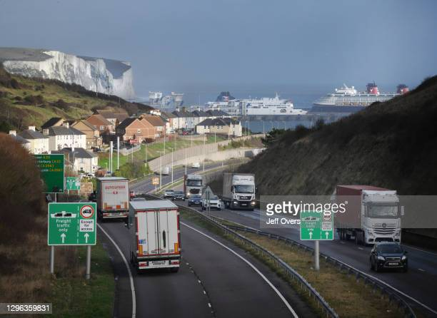 Lorries arriving at and departing from the port of Dover, Kent, England 14th December 2020